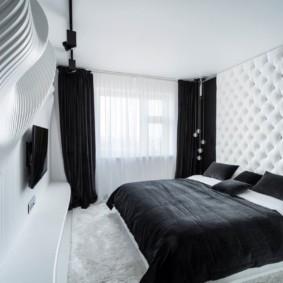 черно белая спальня фото интерьер