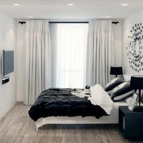 черно белая спальня фото оформления