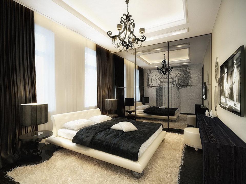 черно белая спальня идеи декора