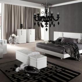 черно белая спальня идеи обзор