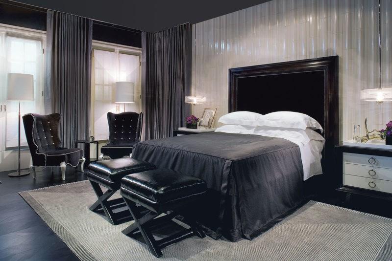 черно белая спальня идеи оформление
