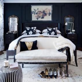 черно белая спальня интерьер фото