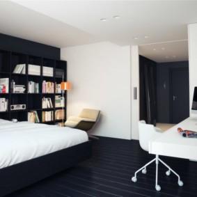 черно белая спальня обзор идеи