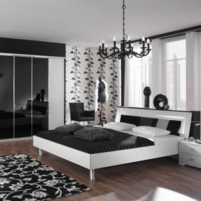 черно белая спальня оформление фото