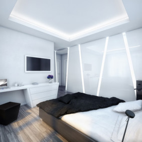черно белая спальня оформление идеи