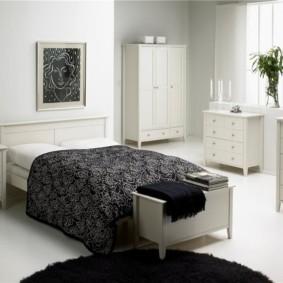 черно белая спальня варианты идеи