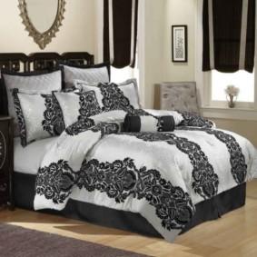черно белая спальня виды