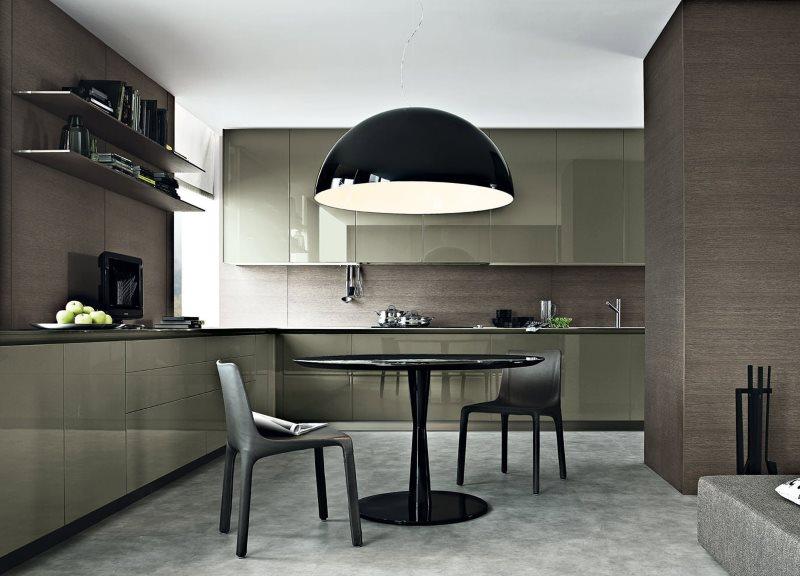 Черный обеденный стол на кухне в стиле модерн