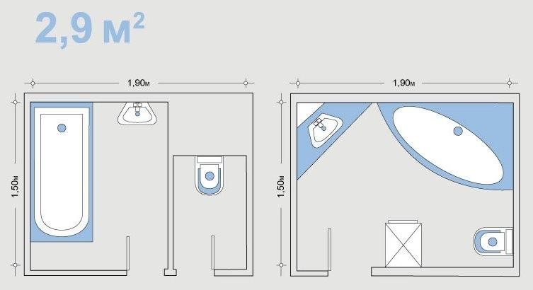 Чертеж ванной комнаты до и после объединения с туалетом