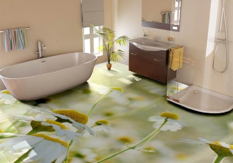 Ромашки на поверхности наливного пола в ванной комнате