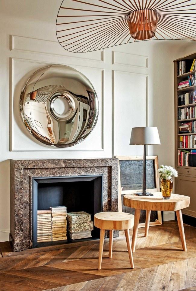 Декоративный камин в современной кухне-гостиной