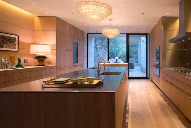 Двухрядная кухня в стиле модерн в частном доме