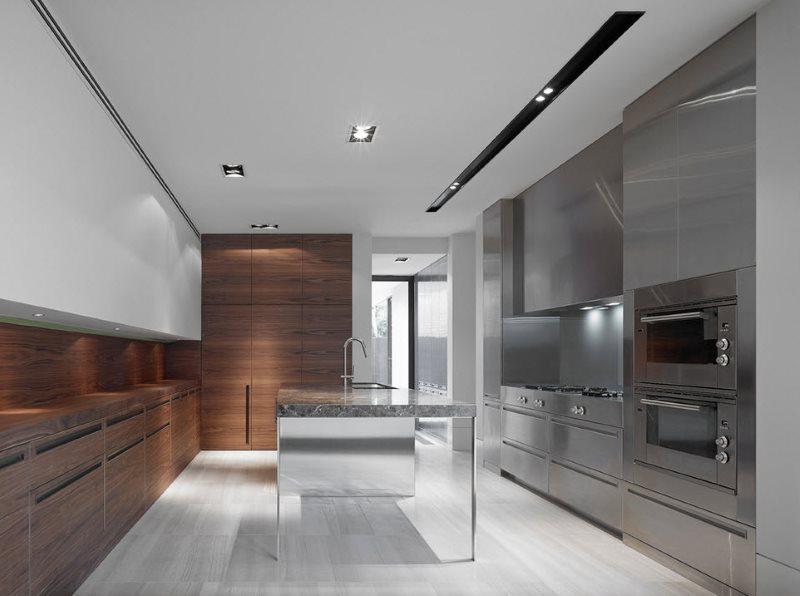 Имитация дерева на фасадах современной кухни