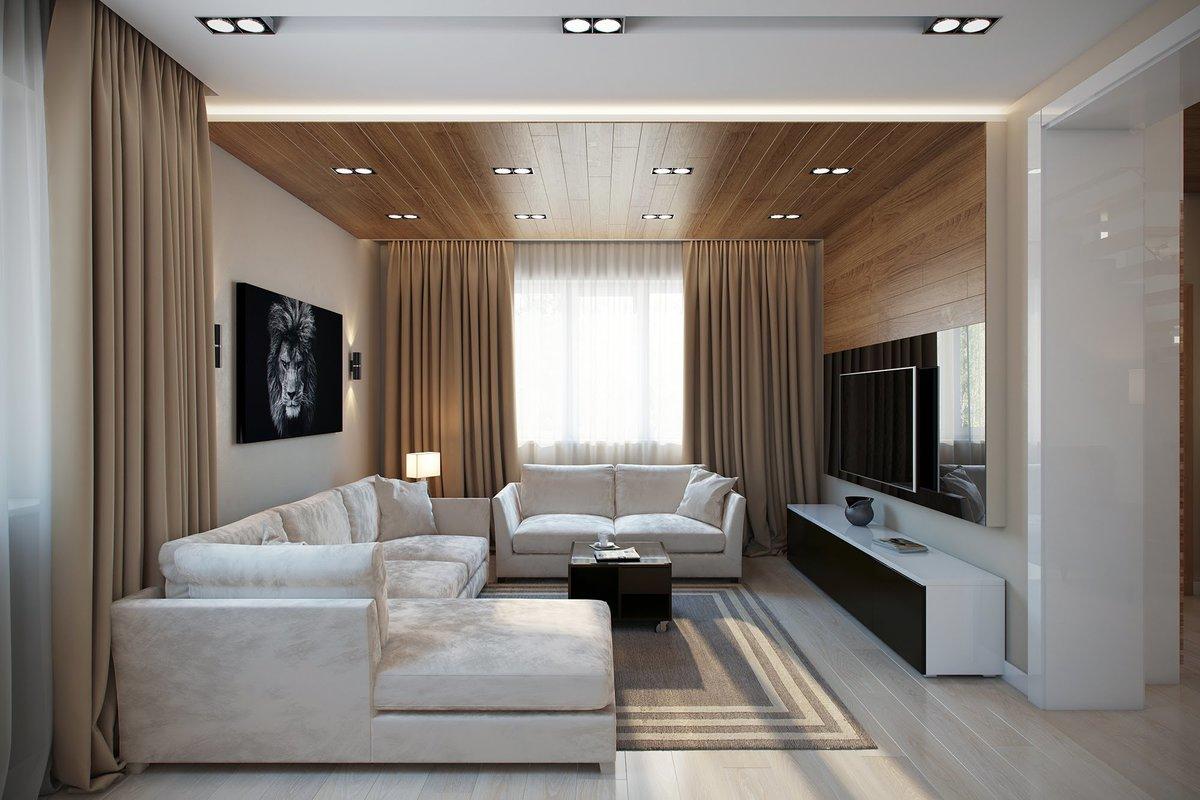 дизайн штор для зала модерн