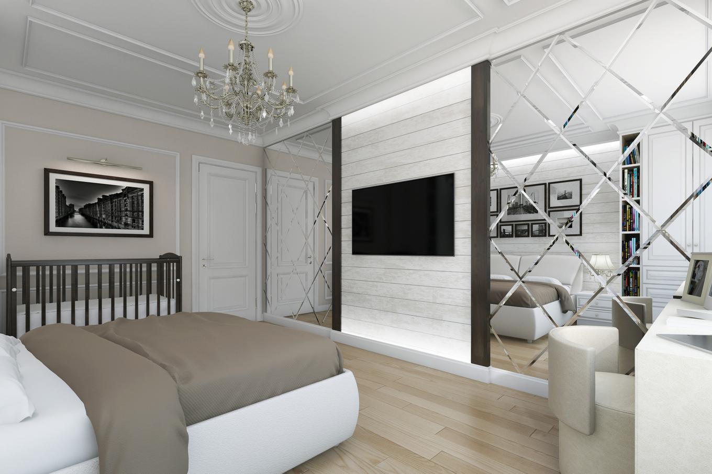 дизайн спальни 12 кв м с зеркальной стеной