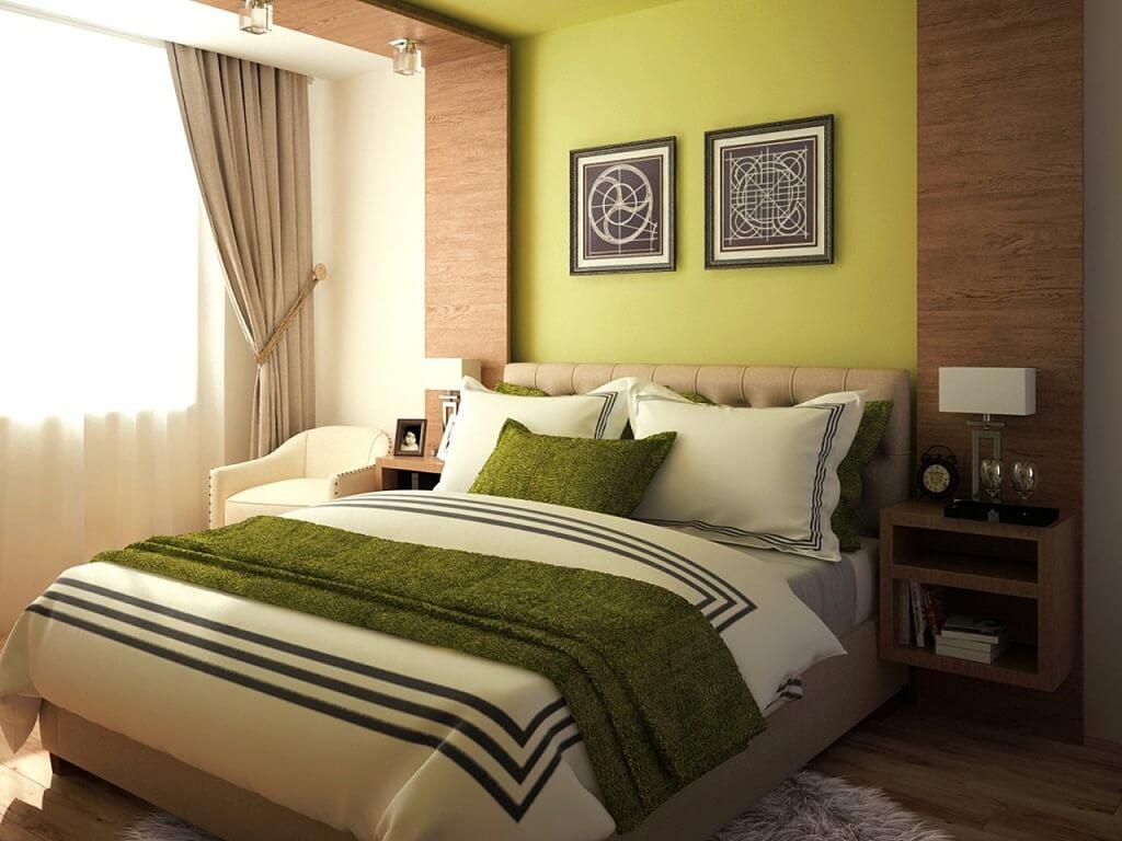 спальня в коричневых тонах с зеленым