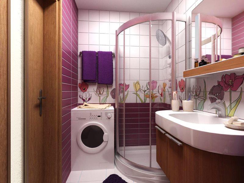 Угловая душевая кабина в ванной хрущевки