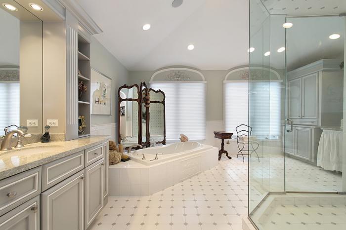 душевая кабина в ванной комнате оформление фото