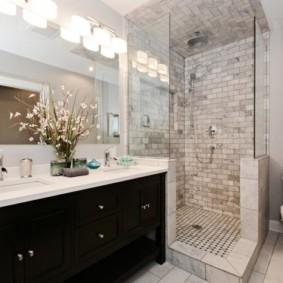 душевая кабина в ванной комнате оформление идеи