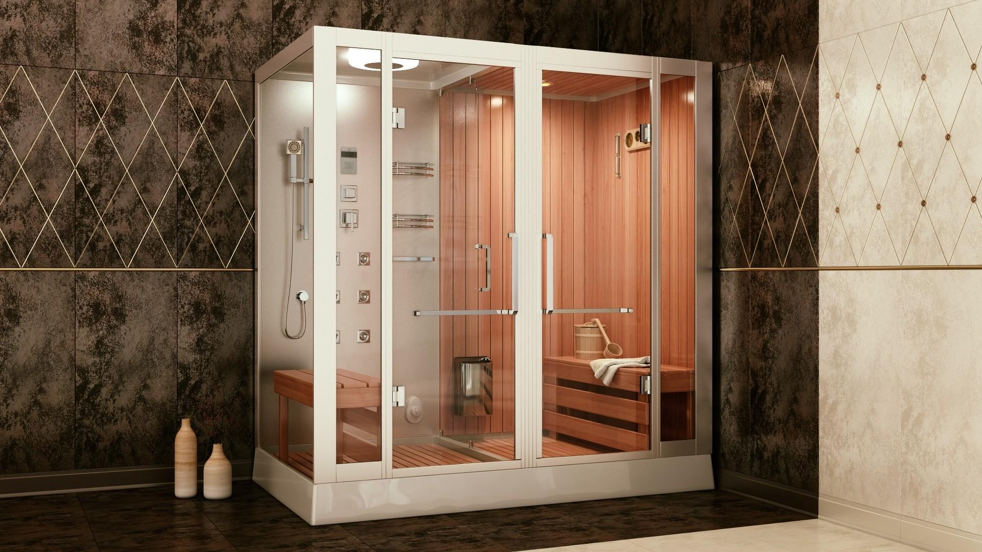 душевая кабина с сауной в ванной комнате
