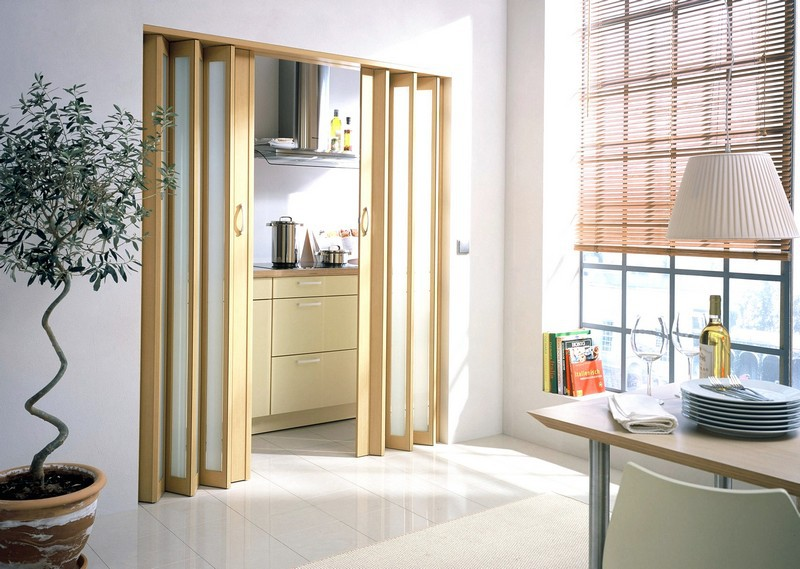 Дверь-гармошка в стене между кухней и гостиной