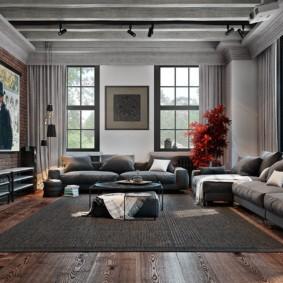Два дивана в гостиной индустриального стиля