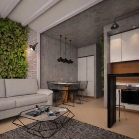 Живые растения над диваном в кухне