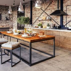 Кухня-гостиная без подвесных шкафов