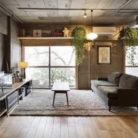 Живые растения на антресоли в гостиной