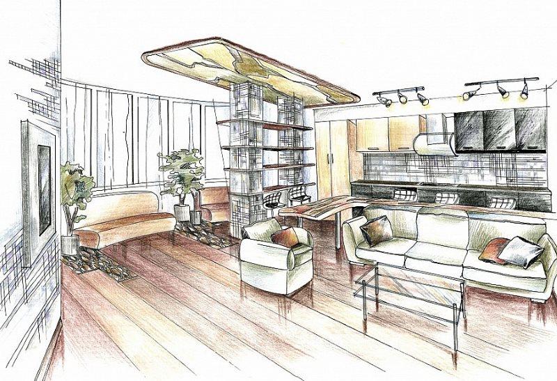 Эскиз кухни-гостиной площадью в 30 квадратов