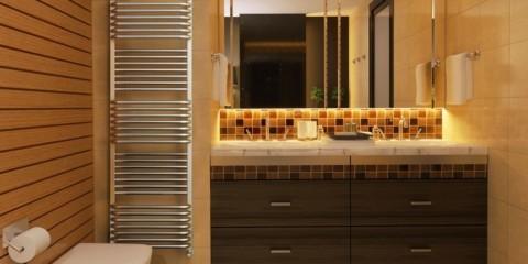 электрический полотенцесушитель в ванную фото оформления