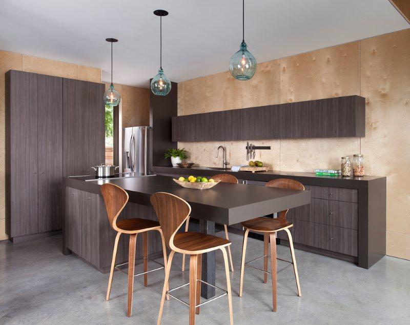 Фанера в интерьере современной кухни
