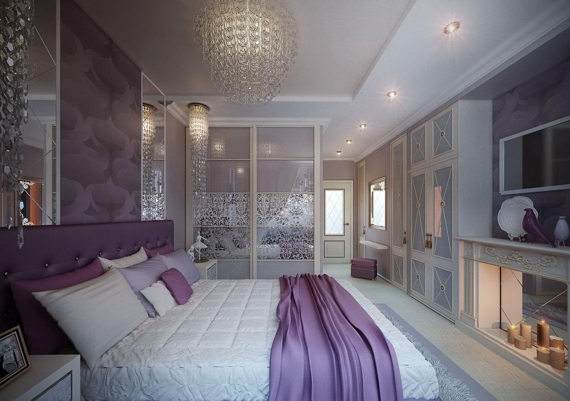 фиолетовая спальня фото декор