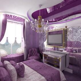фиолетовая спальня фото дизайн