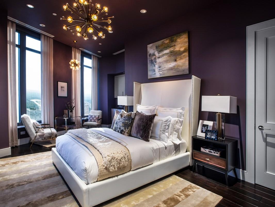 фиолетовая спальня фото интерьера