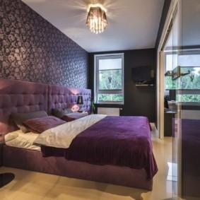 фиолетовая спальня фото оформление