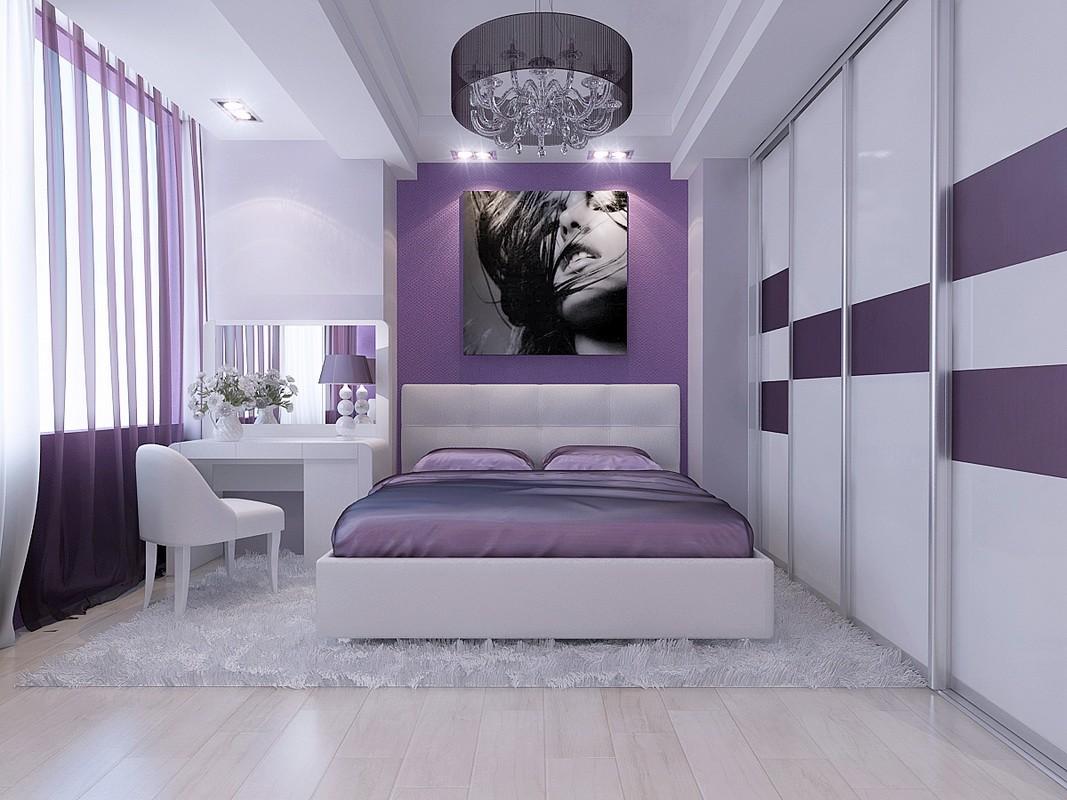 фиолетовая спальня фото оформления