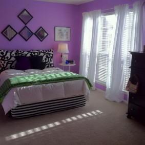 фиолетовая спальня фото вариантов