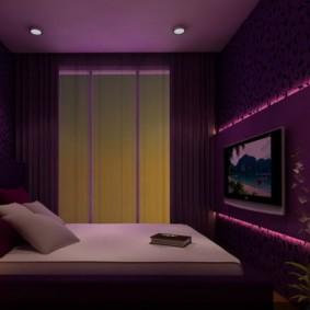 фиолетовая спальня фото виды