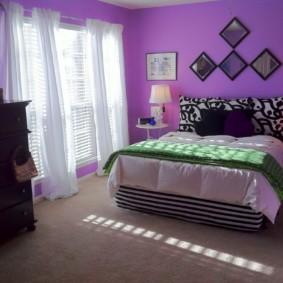 фиолетовая спальня идеи декора