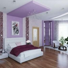 фиолетовая спальня интерьер фото