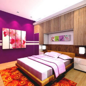 фиолетовая спальня оформление фото