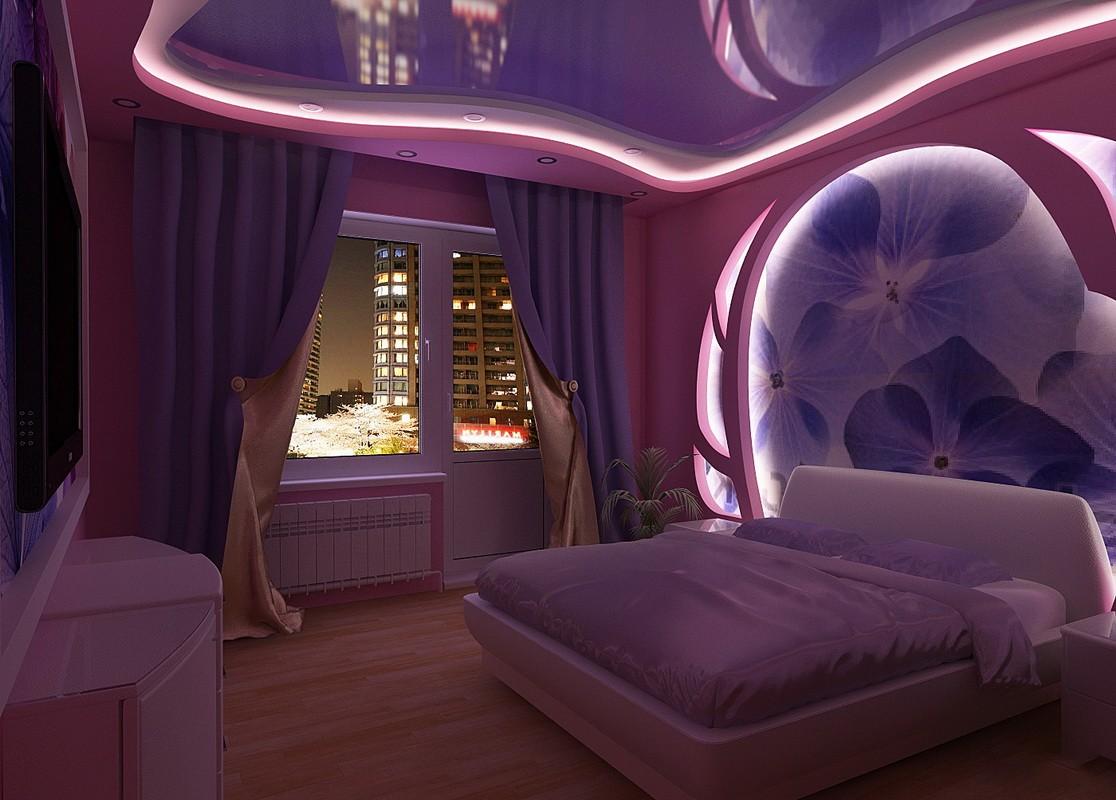 фиолетовая спальня оформление