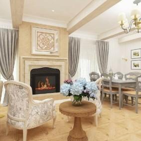 Люстра на потолке классической гостиной