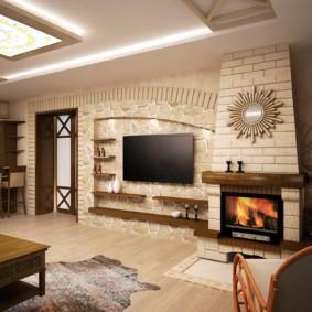 Витражи с подсветкой на потолке гостиной