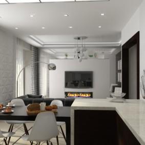 Встроенные светильники на ровном потолке