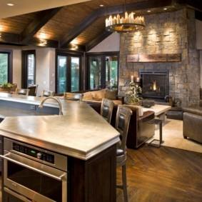 Двухуровневый кухонный остров с мойкой