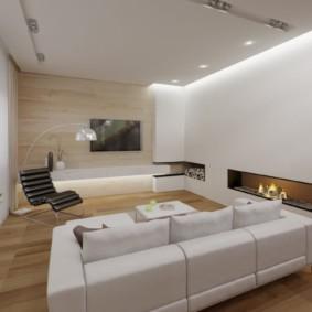 Спинка углового дивана с белой обивкой