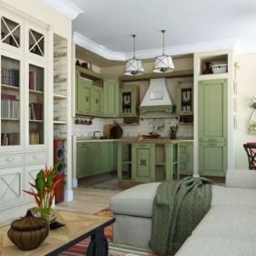 Угловой диван в кухне частного дома