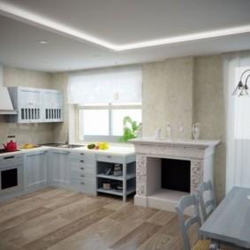Камин в кухне с угловым гарнитуром